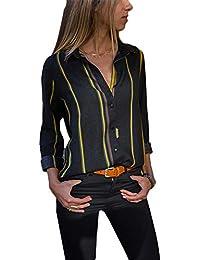 a7ded203450e3 Aleumdr Mujer Blusa Cuello En V Camiseta de Mangas Largas Camisa con  Botones Size S-