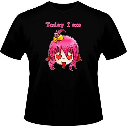Okiwoki T-Shirt Noir Humeur du Jour parodique Manga Style : Today I am in Love !! (Parodie Humeur du Jour)