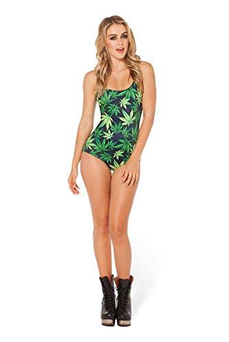 Frauen Einteiler-Badeanzug-Graffiti-Druck Cannabis Verlässt Racerback-Badebekleidung Sport-Schwimmen-Kostüm (Grün) , Green , One Size,grüne,one size (Einteiler Schwimmen Kostüme)