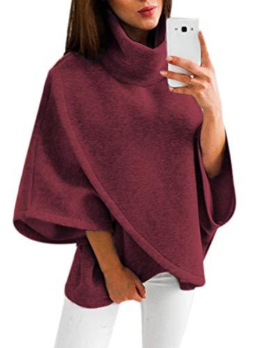 YOINS Damen Pullover Oberteil Poncho Winter Warm Asymmetrische für Damen Pulli Cardigan Sweatshirt Rollkragenpullover Langarm Rotwein EU32-34 -