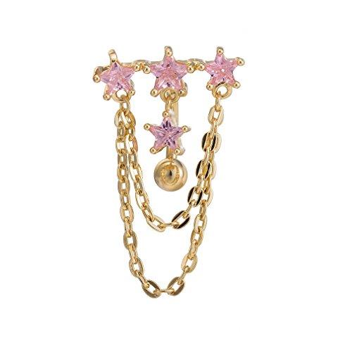 SMCTCRED Belly Button monili dell'anello del Bar Body Piercing (Rose Gold)