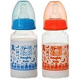 PREMIUM BOROSILICATE BABY GLASS FEEDING BOTTLE WITH TWIN LSR NIPPLE-BLUE-125ML+ORANGE-125ML
