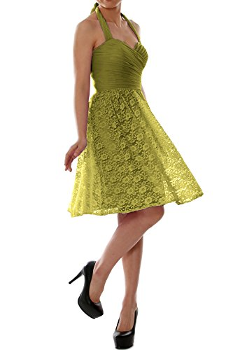 MACloth Women Halter Short Bridesmaid Dress Cocktail Wedding Party Formal Gown Oliver Green