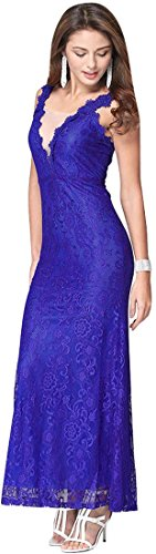 Jeansian Femmes Fashion Sexy Lady Robe Lace Womens Embroidery Cocktail Party Long Dress WHS030 blue