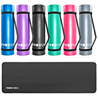 Proworks Large Padded Yoga Mat with Carry Handle for Pilates/Exercise/Gymnastics - Black/Blue/Purple/Green/Pink