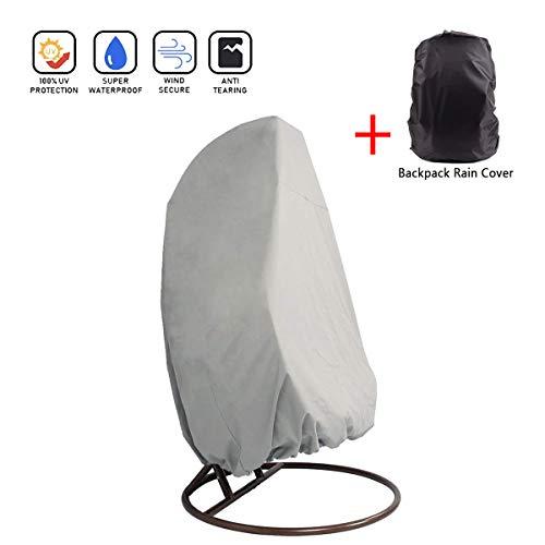 SUNDUXY Hängende Stuhlabdeckung für oder Single Swinging Egg Chair/Pod Chair - Outdoor Patio hängenden Stuhl Cover Heavy Duty wasserdicht (Inklusive Rucksack Regenschutz),Zipper,115x190cm