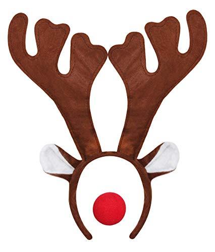 ILOVEFANCYDRESS 1 Rudolf RED Nose Santa Rentier HÖRNER GEWEIH MIT ROTER Schaumstoff Nase=Betriebsfeier Weihnachten Xmas Schlitten KOSTÜM VERKLEIDUNG Fasching Gruppen (Rot Cupid Kostüm)