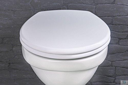 Preisvergleich Produktbild Aquashine® Premium WC-Sitz Straight Line || Hochwertiger Universal Toiletten-sitz aus Duroplast in weiss inkl. Soft-Close Funktion / Click-System zur Schnellreinigung || Einfache Montage von oben