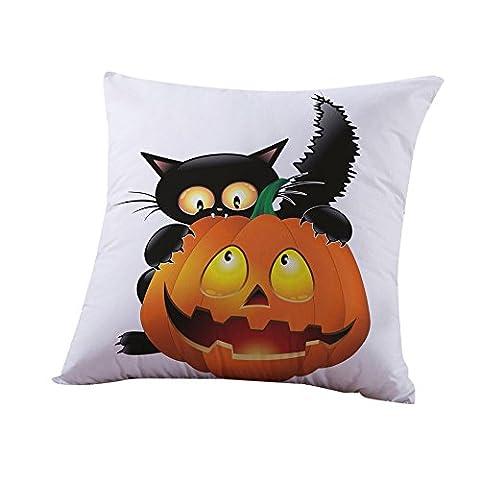 Halloween Kissenbezüge,H-fragrance Bettwäsche aus Baumwolle Sofa Kürbis Geister Kissen Abdeckung Zuhause Dekor (Graue Geist Kostüm)