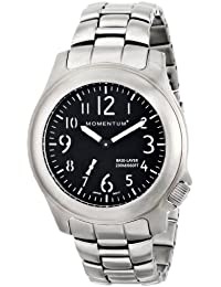 Momentum 1m-sp76b0del hombres Base capa analógico pantalla Plateado Reloj de cuarzo japonés