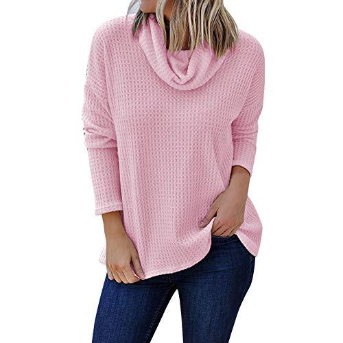 IZHH Damen Plus Size Shirt , LäSsige Strickjacke Mit Langen ÄRmeln Und Festem Rollkragenpullover Lose Gestrickter Stehkragen T-Shirt(Rosa,Small)