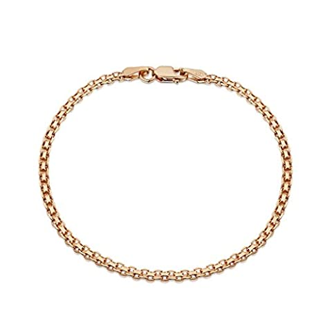 Amberta® Bijoux - Bracelet - Chaîne Argent 925/1000 - Plaqué Or Rosé 14K - Maille Bismarck - Largeur 2.2 mm - Longueur 18 19 20 cm (20cm)