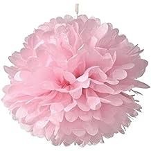 OULII 10 pz 10 pollici carta velina fiori carta velina pompon per nozze festa bambino doccia forniture (rosa chiaro)