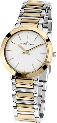 JACQUES LEMANS Damenuhr Milano  Metallband massiv Edelstahl ip-gold / Bicolor  1-1842.1D