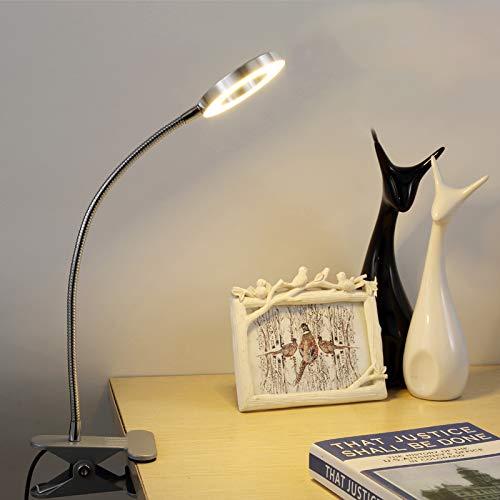 LED Klemmleuchte Bett Leselampe Kleine Schreibtischlampe Klemmlampe Tischlampe 6W Silber mit 2 Lichtfarben: Kaltweiß und Warmweiß (Ohne Adapter) (Nicht Dimmbar) - NEU
