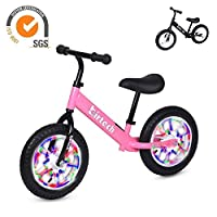 Balance Bike for Girls and Boys 3 Year Olds Training Bike with no Pedals Lightweight (Pink with flash wheel)