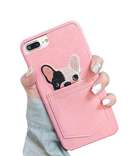 unnfiko Leder Geldbörse Handyhülle mit Kreditkarte Halter, Spitze Hund Tasche, Cover mit kartenfächer für iPhone 7Plus/iPhone 8Plus iPhone 7 Plus / 8 Plus rose