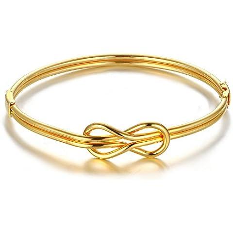 Vnox Acciaio inossidabile delle donne della ragazza Infinity Amore filo sottile braccialetto d'oro,diametro 67.7 millimetri