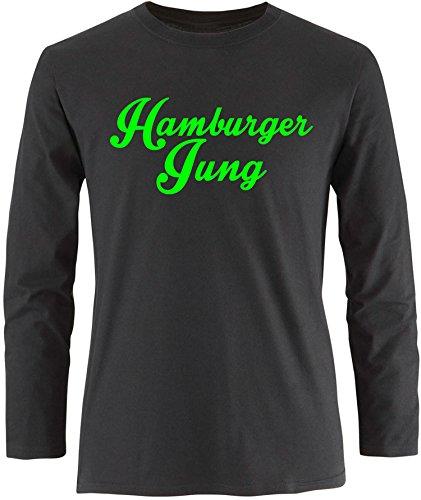 EZYshirt® Hamburger Jung Herren Longsleeve Schwarz/Neongrün