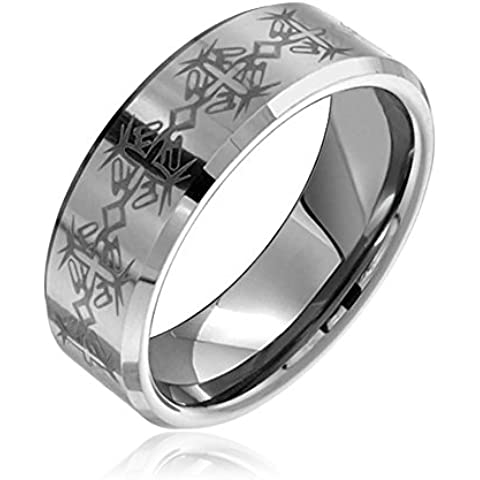 Bling Jewelry Celtic Cross tungsteno smussato Wedding Band 8 millimetri
