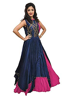Salwar Style Women's Banglory Silk Semi Stitched Gown (BH2150, Pink)