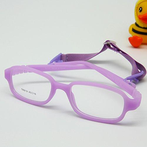 EnzoDate Jungen Mädchen Optische Gläser Frame mit Gurt flexibel für Räume nicht - Kinder, Größe 45