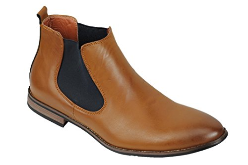 Xposed Herren Wildleder Chelsea Stiefel Italienisch Stil Smart Casual Retro Knöchelschuhe, Gr.-UK 11.5/ EU 46, Tan Brown-pu Leather -