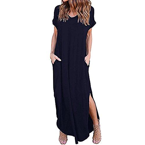 VEMOW Damenmode Tasche Lose Kleid Damen Rundhalsausschnitt beiläufige Tägliche Lange Tops Kleid Plus Größe(Z2-Dunkelblau, EU-44/CN-M) -