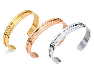 Zhenhui Stainless Steel Hair Tie Cuff Bracelets Indent Hairband Bangles