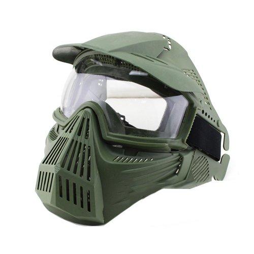 HTKU Schutzmaske Airsoft Pro Clear, Totenkopf, für das ganze Gesicht, Militär, Paintball, Halloween-Kostüm , grün