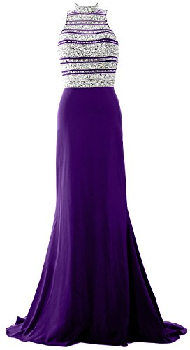 MACloth Women Crystal Beaded Mermaid Long Prom Dress Formal Evening Party Gown purple