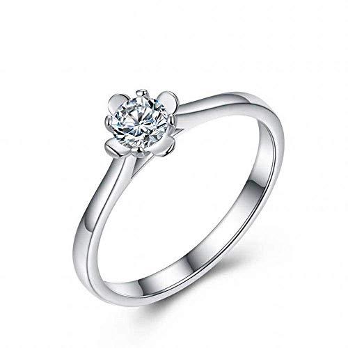 YTTY S925 Sterling Silver Girls Square Black Diamond Inlay Roségold Öffnungscode-Ring, Silber, 7, Silber, 7