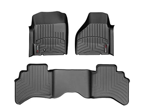 2002-2009 Dodge Ram Truck - Weathertech Floor Liners - Full Set (Includes 1st and 2nd Row) - Fits 4 Wheel Drive Only. Quad Cab, 2wd & 4wd, Does Not Fit Vehicles with the Optional 1st Row Center business Console - Black by WeatherTech