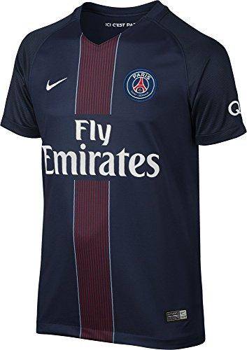 Nike PSG YTH SS Hm Stadium JSY Camiseta Línea Paris Saint Germain, Niños, Azul Marino (Midnight Navy/Black / Challenge Red/White), S