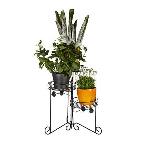 Relaxdays Blumenständer Metall, pulverbeschichtet, 3 Ablagen, Pflanzen, Dekorativ, 50 cm hoch, Pflanzentreppe, schwarz