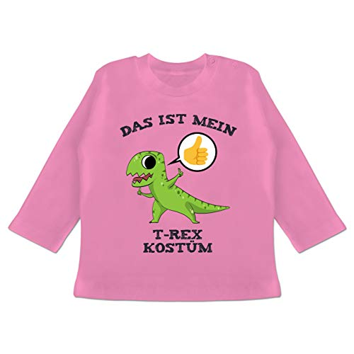 Karneval und Fasching Baby - Das ist Mein T-Rex Kostüm Comic - 3-6 Monate - Pink - BZ11 - Baby T-Shirt Langarm