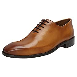 Tan Hand Painted 100% Genuine Leather Handmade Whole Cut / One-Piece Oxford Shoes for Men by BRUNE Size-9