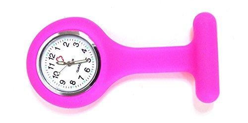 Gesundheitspflege Ansteckuhren Schwesternuhren Silikon Pflegeuhren Krankenhaus Personal Uhren 10 Farben (pink) (Krankenschwester-nadel)