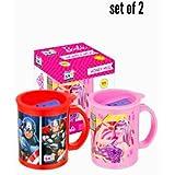 Pawan Plastic Set Of 2 Barbie N Avenger Kids Honey Plastic Coffee,juice Milk & Water Travel Mug With Sipper Lid( Prints May Vary)