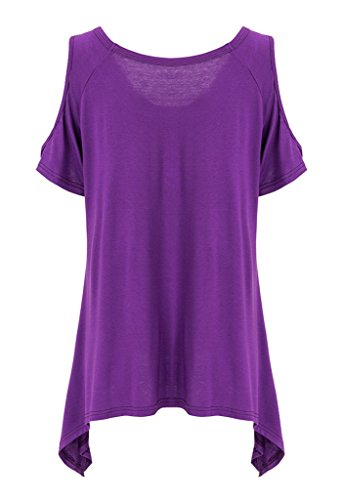 Bigood T-shirt Manche Courte Femme Chemise Coton Col Rond Top Haut Sexy Epaule Nue Mode Violet