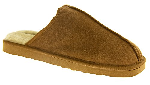 Marrone Uomini In Scamosciata Pelliccia Dunlop Foderata Pelle Pantofole Brandon Finta wnp0x7Uq