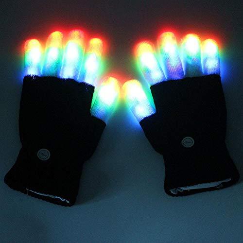Ryegf Kinder leichte Handschuhe Neuheit Finger Licht blinkende LED warme Handschuhe für Geburtstag Licht Party Weihnachten Xmas Dance Mädchen Jungen-schwarz