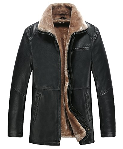 Männer Mode Leder verdicken Leder Jacke Warm Lamm Wolle Futter Schwarz