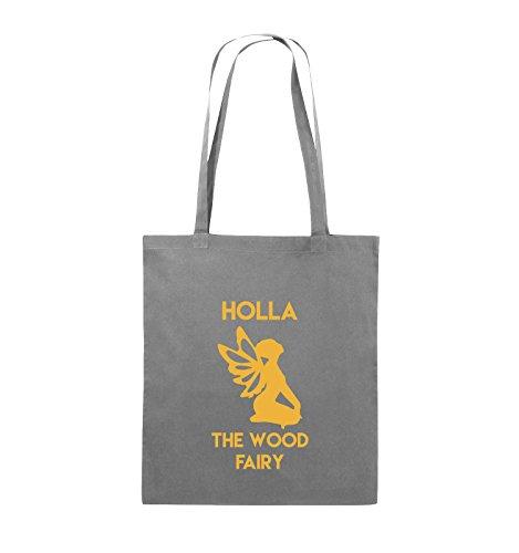 Comedy Bags - HOLLA THE WOOD FAIRY - Jutebeutel - lange Henkel - 38x42cm - Farbe: Schwarz / Silber Dunkelgrau / Gelb