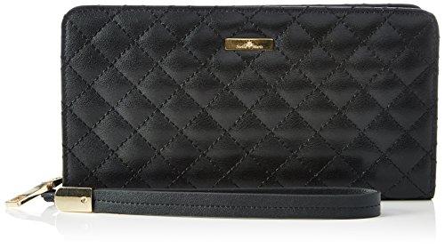 Stella Maris Diamant Damen Abendtasche Unterarmtasche Clutch Geldbörse Geldbeutel Portemonnaie aus Leder gesteppt (Raute) Schwarz - STMW3-01 (Wallet Gesteppte Clutch)