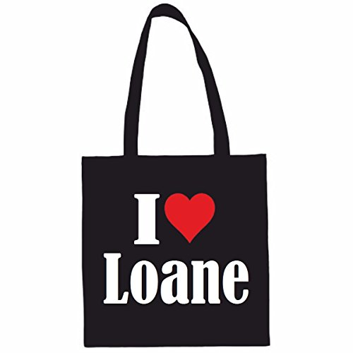 Sac à Bandoulière I Love Loane Shopping Bag Sac d'école Sac de Sport 38x 42cm en Noir ou Blanc.. Le cadeau parfait pour votre amoureux