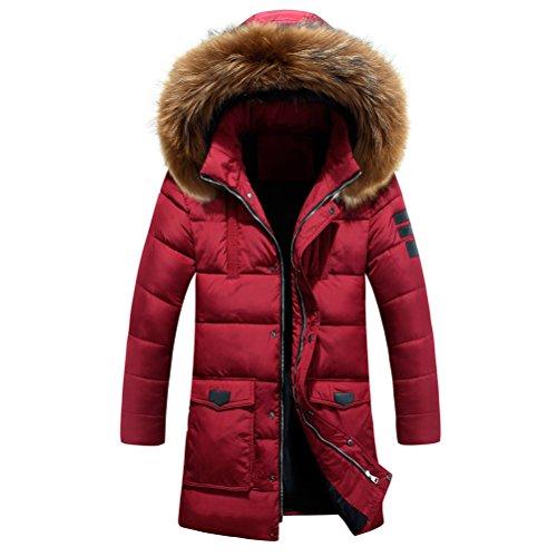 Zhuhaitf Oberbekleidung Men's Hat Detachable Outwear Winter Long Hooded Coat Warm Windbreaker Jacket Red