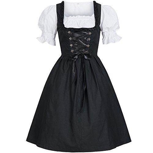Dirndl 3 tlg.Trachtenkleid Kleid, Bluse, Schürze, Gr. 46 schwarz