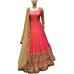 ShreeBalaji women's taffeta silk embroidary Anarkali style dress material/Salwar Suit Sets/salwar suit(FreeSize_Sale)