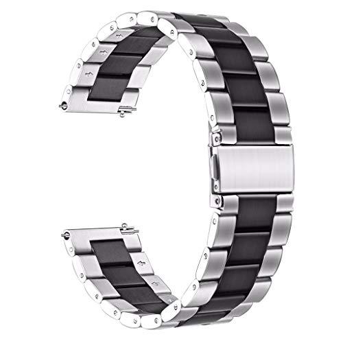 mband Zubehör, Uhrenarmband, Edelstahl-Ersatz-Metall-Armband für Amazon GTR 42 mm One Size schwarz ()